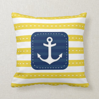Nautical Yellow Stripes Navy Blue Banner  Anchor Cushions