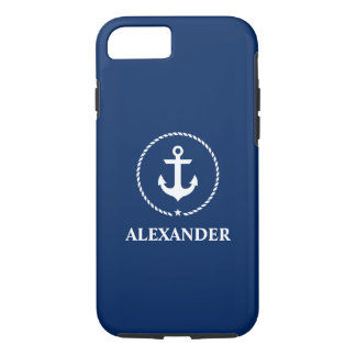 Nautical Your Name Anchor Rope Navy Blue iPhone 8/7 Case