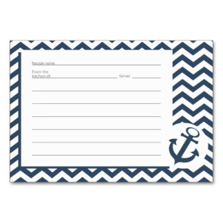 Nautical Zig zag Pattern Recipe Cards