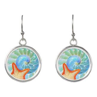 Nautilus And Starfish Earrings