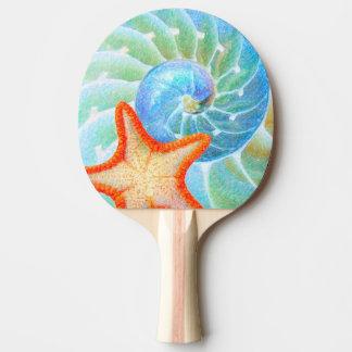 Nautilus And Starfish Ping Pong Paddle