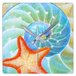 Nautilus And Starfish Square Wall Clock