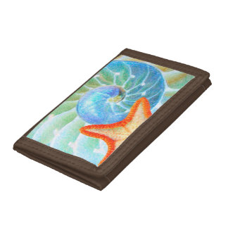 Nautilus And Starfish Tri-fold Wallet