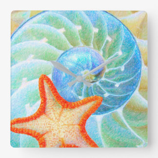 Nautilus And Starfish Wallclocks