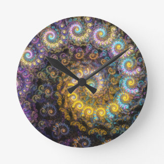Nautilus fractal beauty round clock