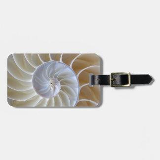 Nautilus Seashell   Golden Spiral Luggage Tag