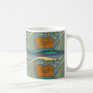 Nautilus Seashell Pattern Nouveau Coffee Mug