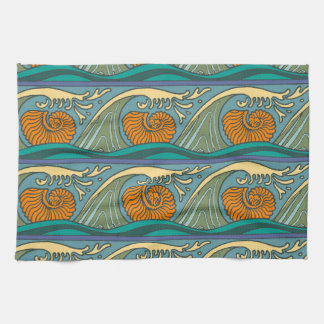 Nautilus Seashell Pattern Nouveau Hand Towels