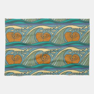 Nautilus Seashell Pattern Nouveau Tea Towel