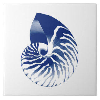 Nautilus shell - navy blue and white large square tile