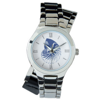 Nautilus shell - navy blue and white watch