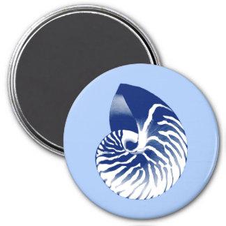 Nautilus shell - navy, white & light blue 7.5 cm round magnet