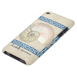 Nautilus Shell Watercolor Greek Key Damask Beach Barely There iPod Covers