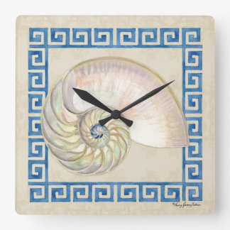 Nautilus Shell Watercolor Greek Key Damask Beach Square Wall Clock