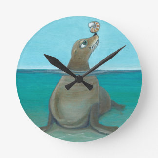 """Nautilus"" The Sea Lion Round Clock"
