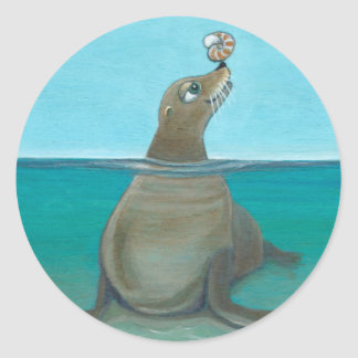 """Nautilus"" The Sea Lion Round Sticker"