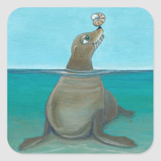 """Nautilus"" The Sea Lion Square Sticker"