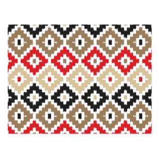 Navajo Aztec Tribal Print Ikat Diamond Pattern Postcard