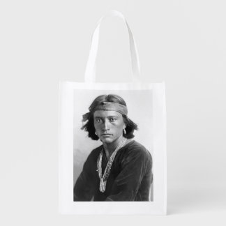 Navajo Boy - Historic Photo by Karl E. Moon Reusable Grocery Bag