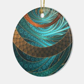 Navajo Bracelets in Turquoise, Gold & Brown Bands Ceramic Ornament
