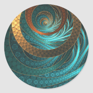 Navajo Bracelets in Turquoise, Gold & Brown Bands Classic Round Sticker