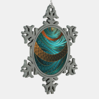 Navajo Bracelets in Turquoise, Gold & Brown Bands Snowflake Pewter Christmas Ornament