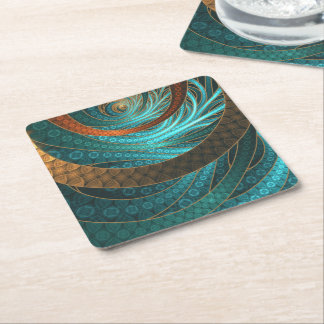 Navajo Bracelets in Turquoise, Gold & Brown Bands Square Paper Coaster