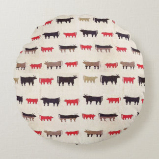 Navajo Charming Cow Pattern Round Pillow