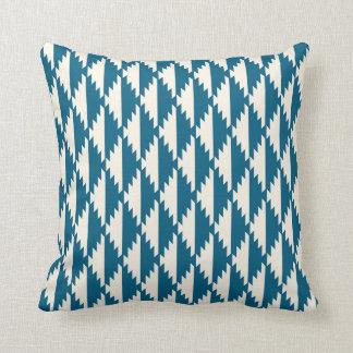 Navajo Diamond Tribal Pattern Turquoise and Cream Cushion