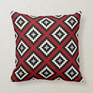 Navajo Geometric in Red Black Grey Cushion