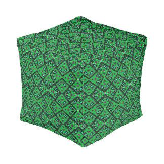 Navajo Geometric Pattern in Green and Purple Pouf