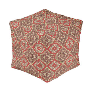Navajo Geometric Pattern in Red and Brown Pouf
