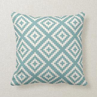 Navajo Geometric Pattern Sea Glass Blue Cushion