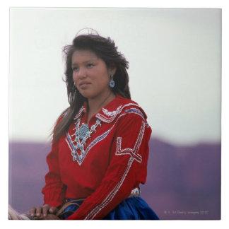 Navajo Girl on Horseback Tile