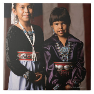Navajo Girls in Front of Flag Large Square Tile