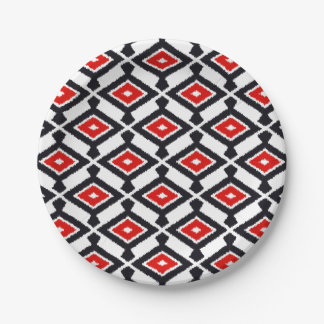 Navajo Ikat Pattern - Dark Red, Black and White 7 Inch Paper Plate