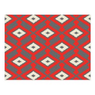 Navajo Ikat Pattern - Red, Grey and Beige Postcard