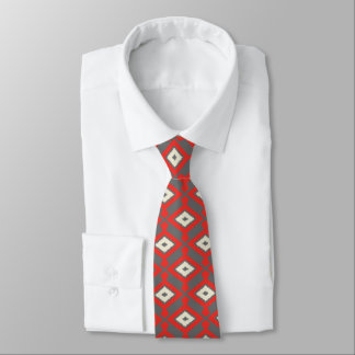 Navajo Ikat Pattern - Red, Grey and Beige Tie