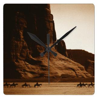 Navajo Riders in the Canyon de Chelly, Arizona Square Wall Clock
