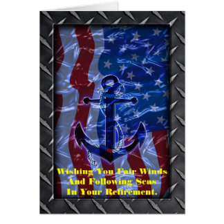 Naval American Flag and Anchor Greeting Cards