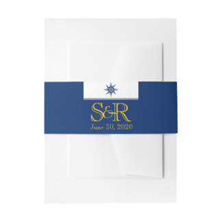 Naval Compass Rose on Navy Wedding Belly Band Invitation Belly Band