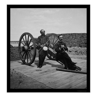Naval Officers on a Cannon in Charleston, SC 1865 Poster
