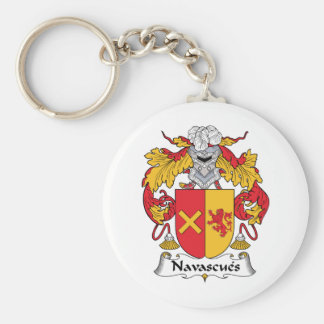 Navascues Family Crest Basic Round Button Key Ring
