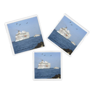 Navigating Out to Sea Square Acrylic Tray