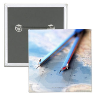 Navigation. Dividers sitting on a map. 15 Cm Square Badge