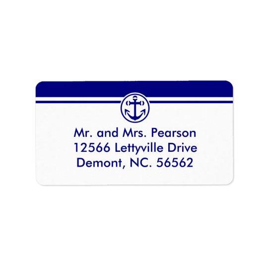 Navy Anchor Address Label