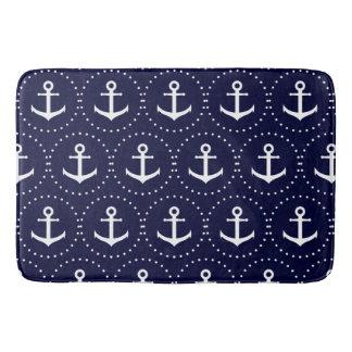 Navy anchor circle pattern bath mat