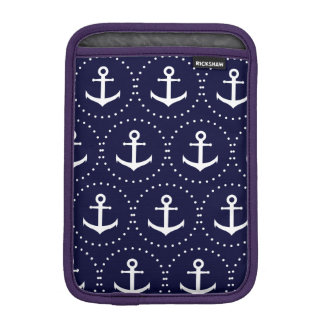 Navy anchor circle pattern iPad mini sleeve