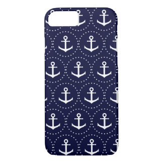Navy anchor circle pattern iPhone 8/7 case