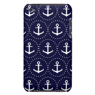 Navy anchor circle pattern iPod touch case